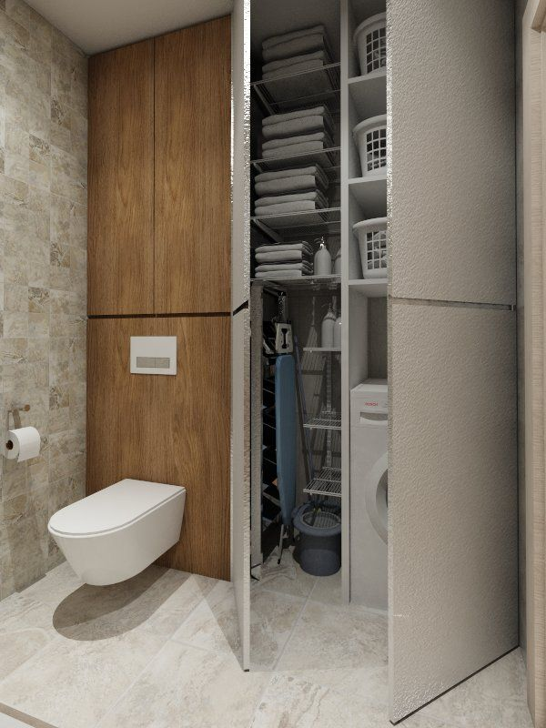 Hidden secondary washer/dryer for guest bedrooms