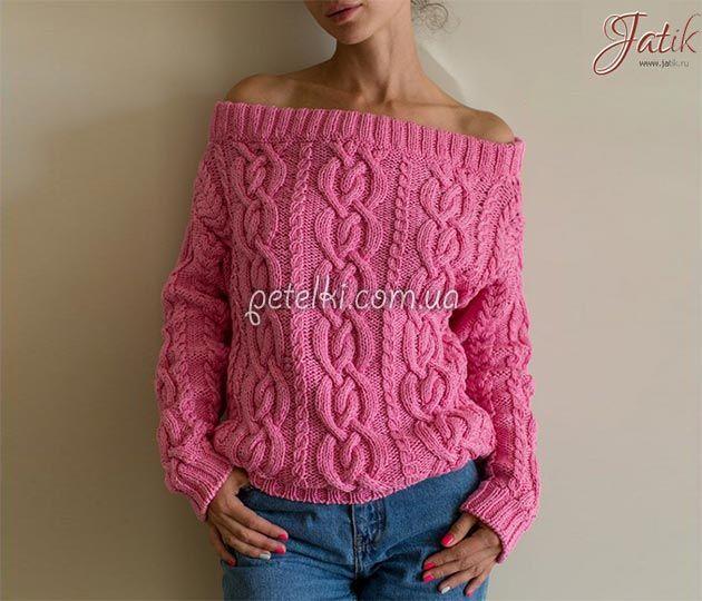 Пуловер с открытыми плечами. Схемы, выкройка