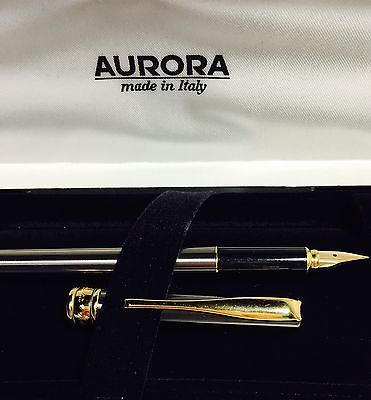 Penna stilografica Fountain Pen Vintage AURORA MAGELLANO Acciaio Satinato e Oro   eBay