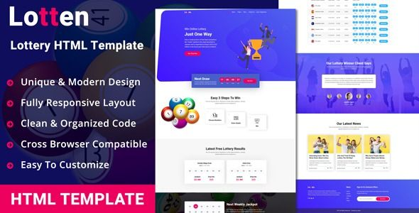Lotten Lottery Html Template Lotten Is A Clean And Responsive