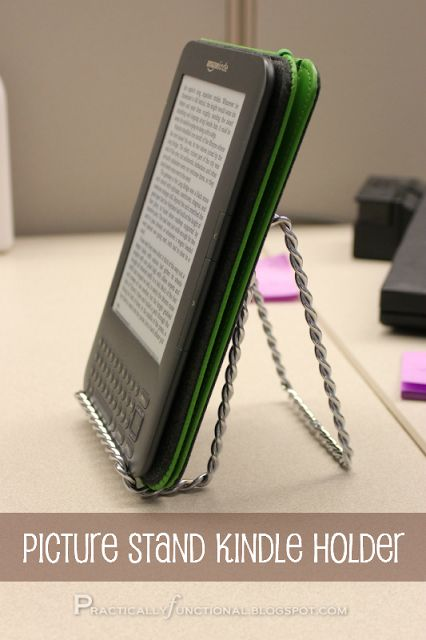 Use a picture stand as a kindle holder. - why didn't I think of before laying out $10.00? Oh, well! :0)