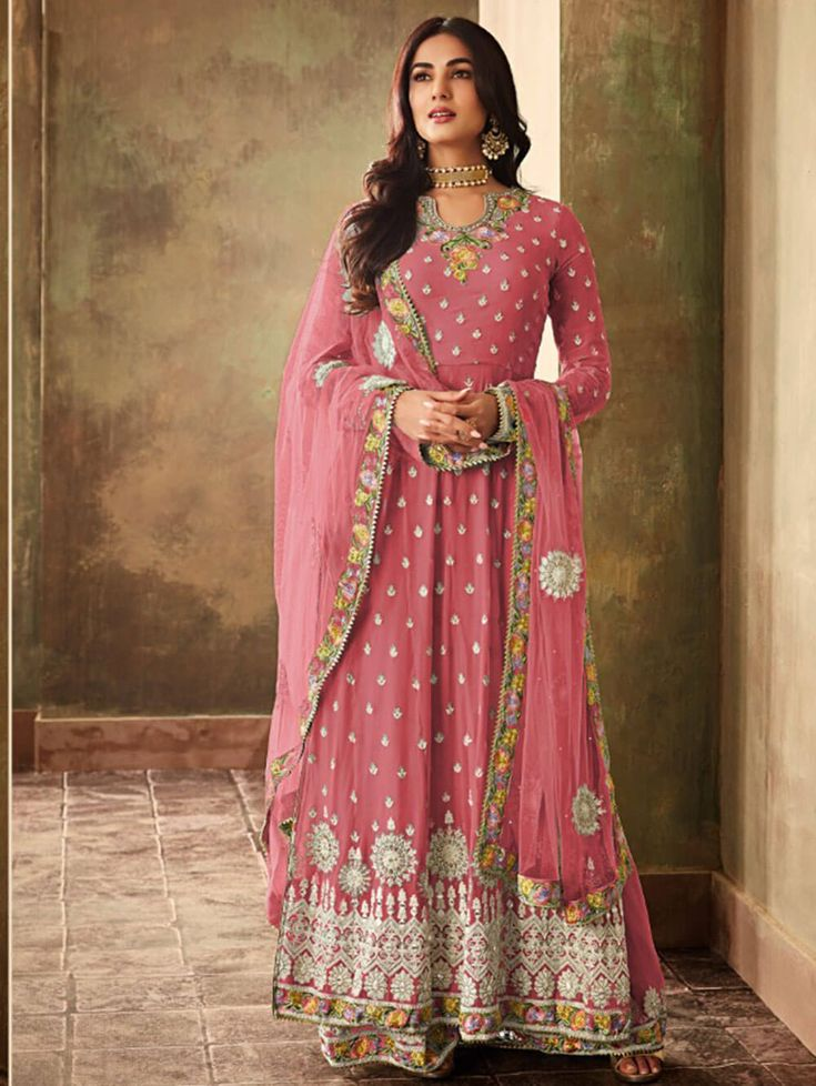 Dress Material-Plazo Suit -KA Georgette With Embroidery Work Plazo Collection qalbcreations in ...