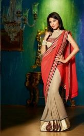 Buy  Graceful Party Wear Designer Brown Red Saree