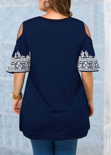 Plus Size Cold Shoulder Tribal Print Blouse | modlily.com - USD $27.57 15