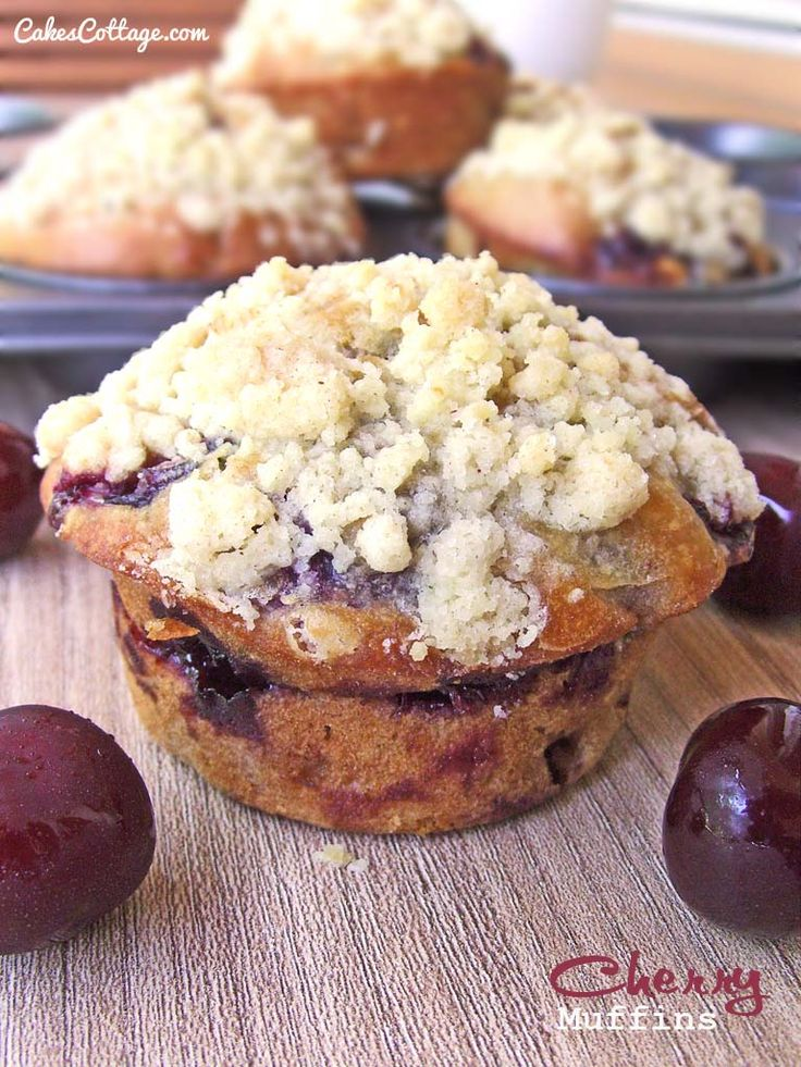 Making this weekend to take to Flagstaff at the Perrys :) Cherry Muffins with Streusel Topping - Cakescottage