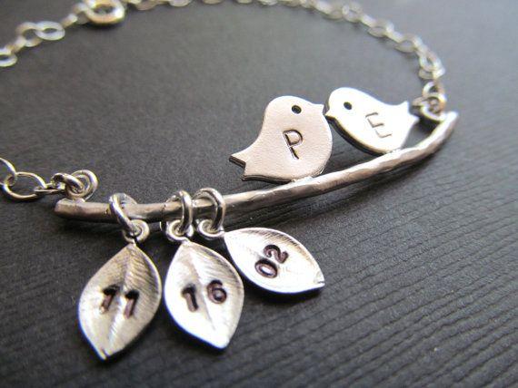 Bridal Shower Gifts, Couple Initials Bracelet Wedding Gift idea Bride to Be Gift Idea Love Birds Bracelet. WEDDING DATE. Engagement Date on Etsy, $34.50