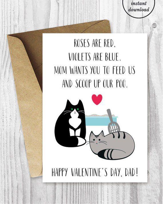 Valentine Card Printable Valentine Card Him Printable For Dad Funny Cat Valentines Valent Valentines Cards Printable Valentines Cards Funny Valentines Cards
