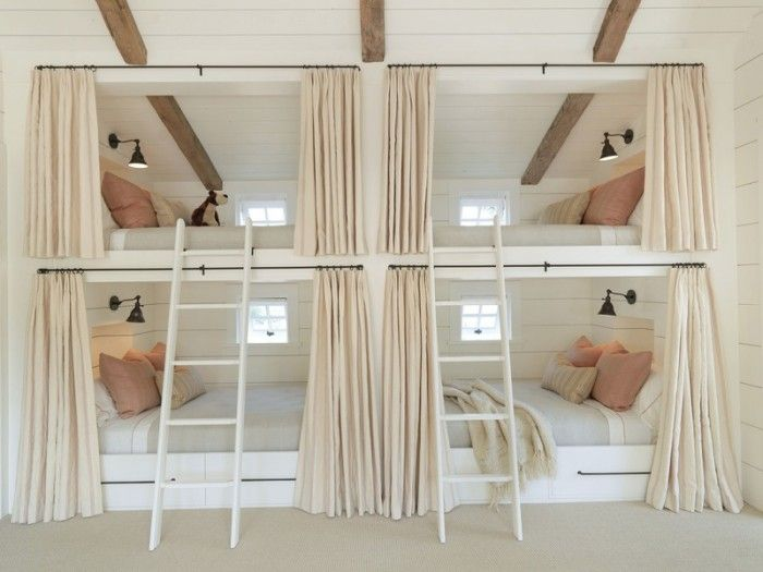 bunk beds with stairs | Room Beautiful bed room cream color wallpaper, bunk beds, two stairs ...