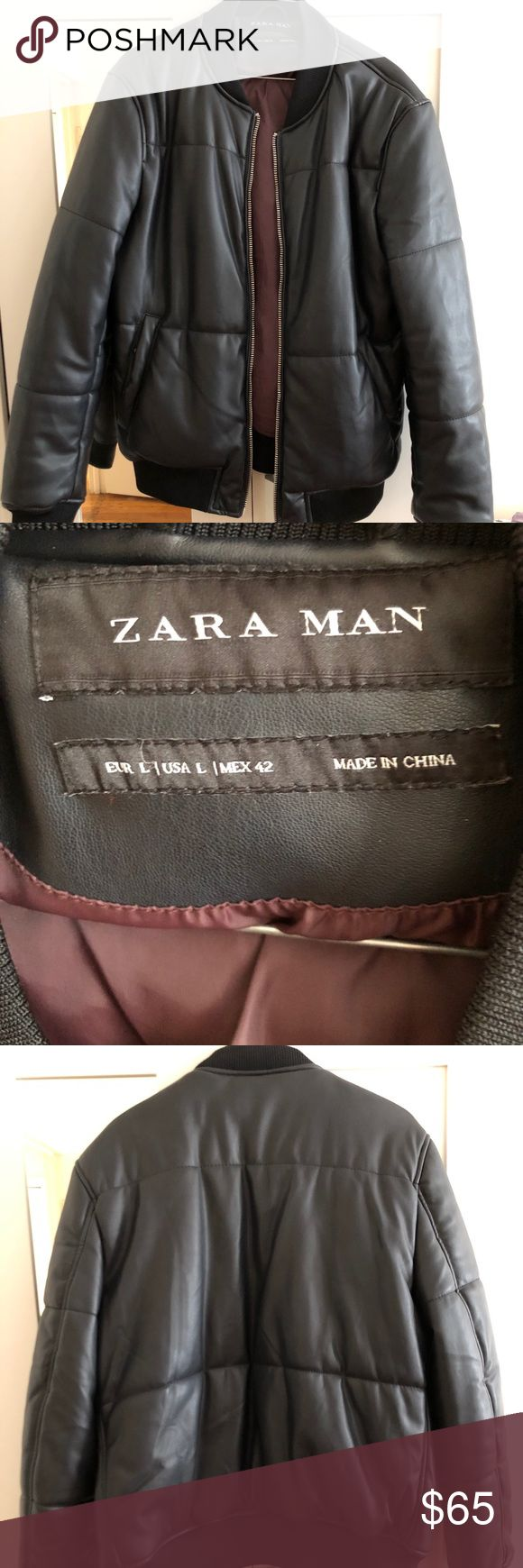 Zara Man Faux Leather Bomber Jacket Size large Zara Man Faux Leather Jacket  Great condition and great quality leather  worn once Thick and warm and stylish Zara Jackets & Coats Bomber & Varsity