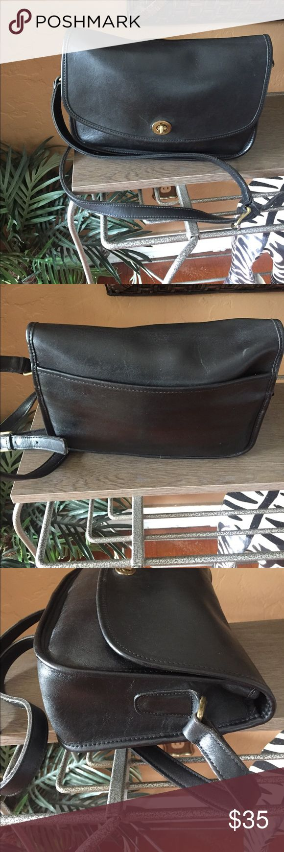 Coach Vintage Handbag A black leather vintage crossbody handbag that measure about 7 ins from top to bottom and about 11 ins from side to side and adjustable shoulder strap creed numbers are B4H-9790 made in the USA in good used condition. Coach Bags Crossbody Bags