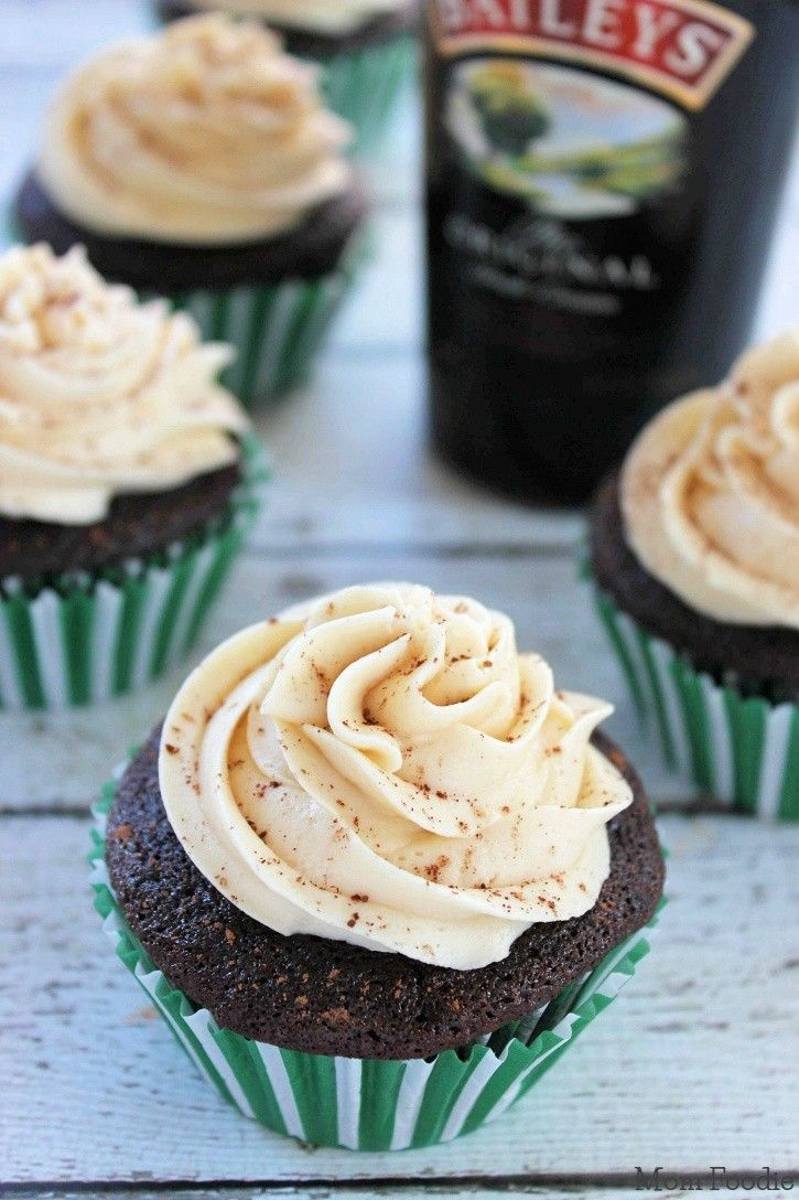 Chocolate Guinness Cupcakes with Bailey's Frosting. These are such a great treat for St. Patrick's Day!