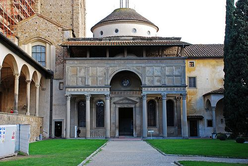 BRUNELLESCHI: Pazzi Chapel (Santa Croce, Florence) begun1441. Filippo Brunelleschi designed the Pazzi chapel as a perfect geometrical space with harmonious proportions. He could achieve this result by including in his project-plan the knowledge gained during his stay in Rome when he focused primarily on measuring ancient buildings, for instance the Pantheon.