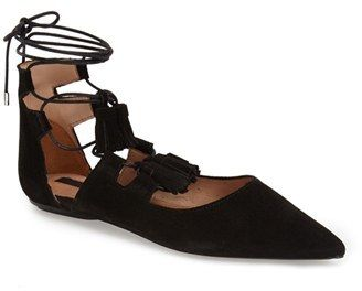 Topshop 'Leather Kiss' Pointy Toe Ghillie Flat (Women)