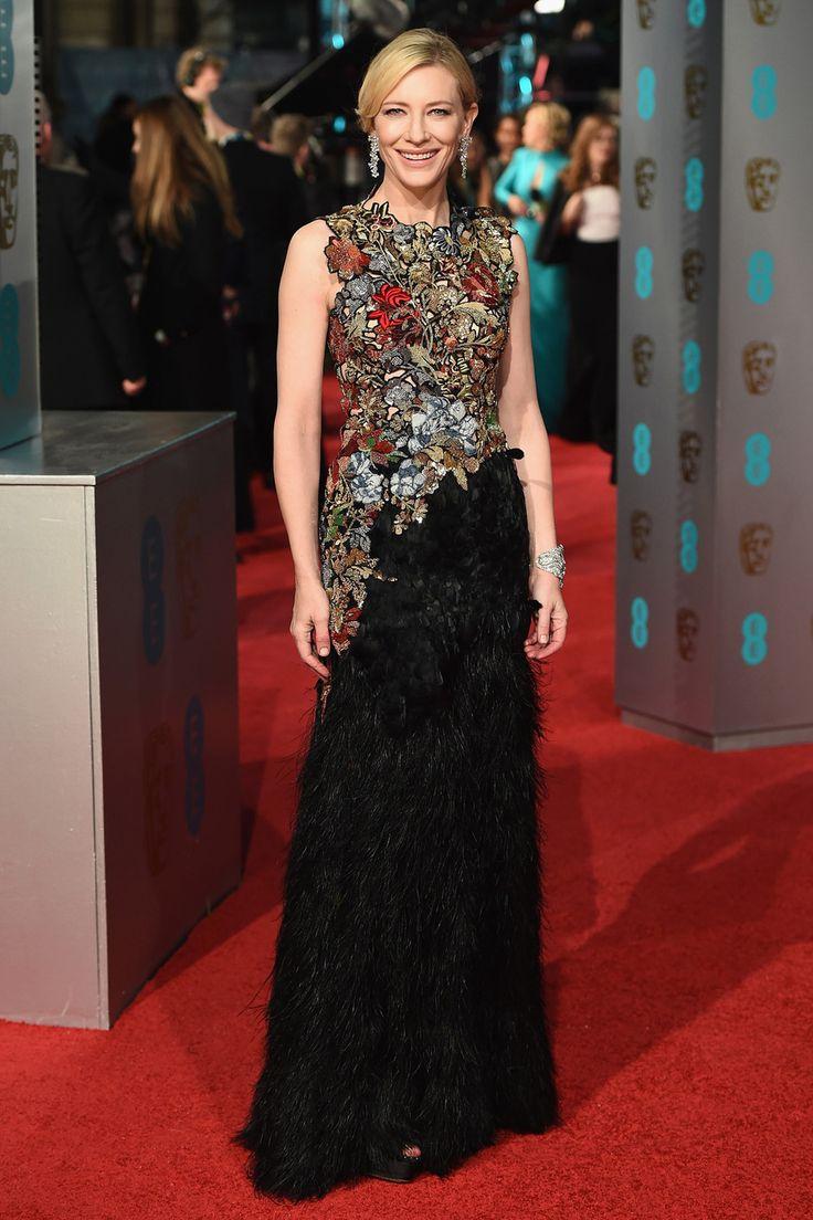 Кейт Бланшетт в платье Alexander McQueen и украшениях Tiffany & Co. Красная ковровая дорожка премии BAFTA