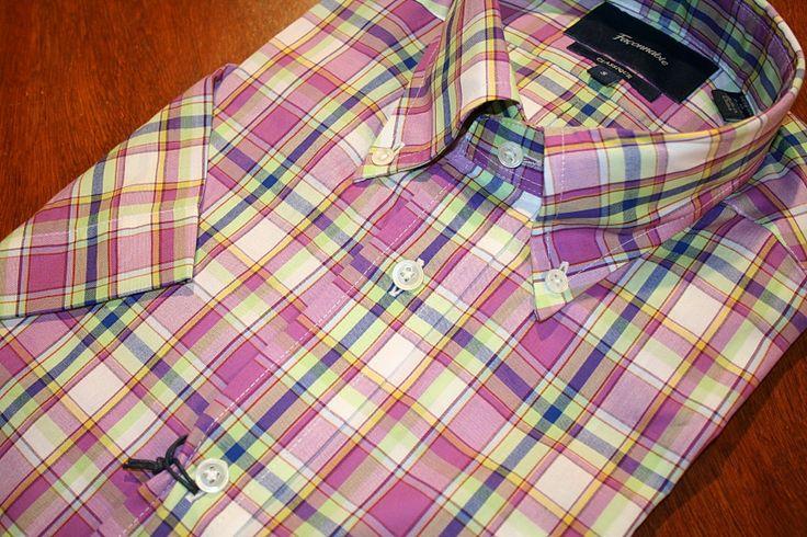 Faconnable Short Sleeve Shirt   Purple Check   #Mondo #Uomo #Naples #Fashion