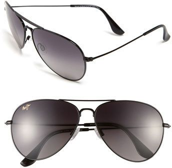 Women's Maui Jim Mavericks 61Mm Polarizedplus2 Aviator Sunglasses - Glossy Black/ Neutral Grey