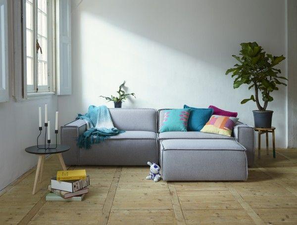 Edge sofa light grey + footstool | Hippe banken in Scandinavische stijl bij … FEST Amsterdam