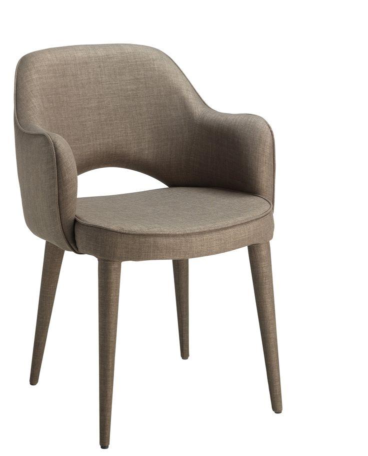 Chaise donna avec accoudoir tissu taupe console bureau for Banc avec 2 chaises