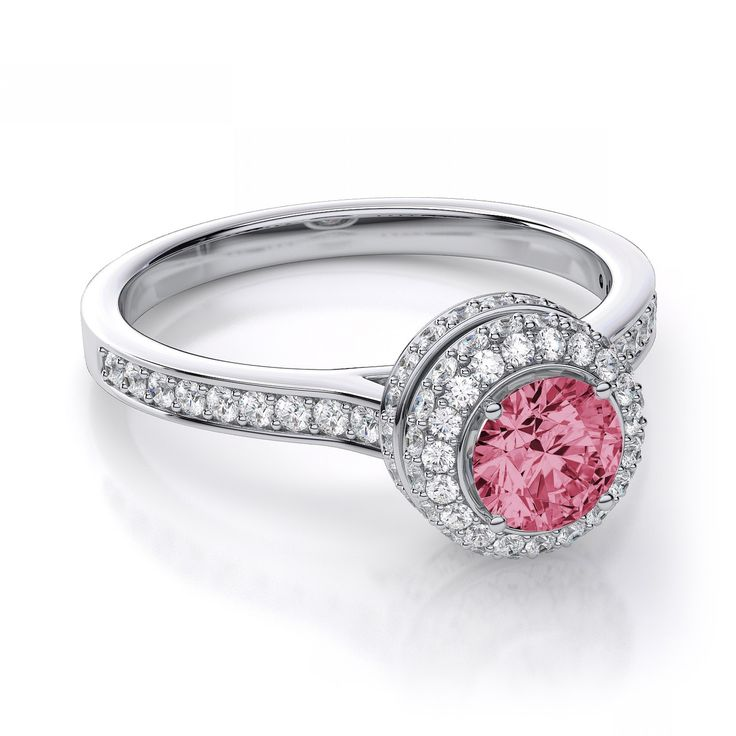 Diamond And Pink Sapphire Engagement Rings