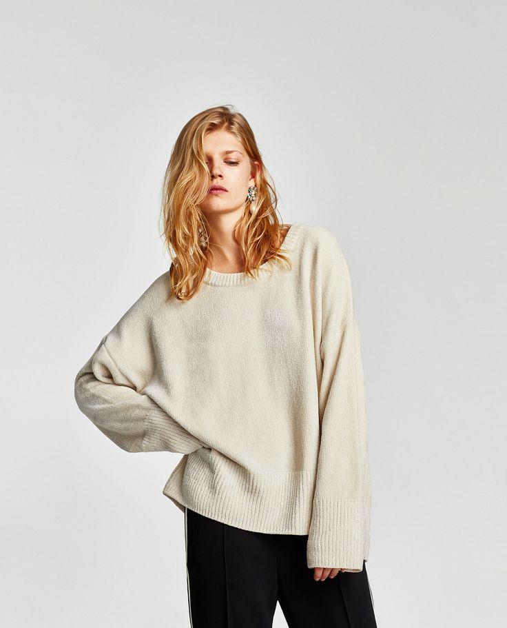 Camisola chenille (cru): ZARA (25,95€)