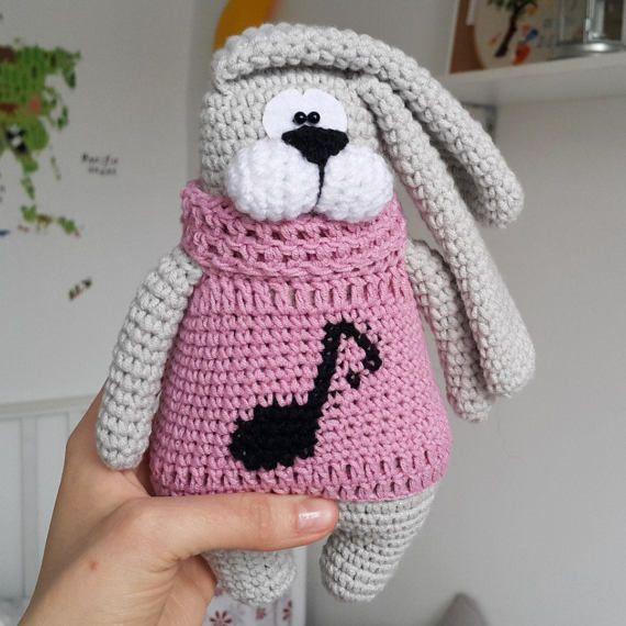 Bunny stuffed toy doll knitted bunny crochet bunny от PrettyBalls