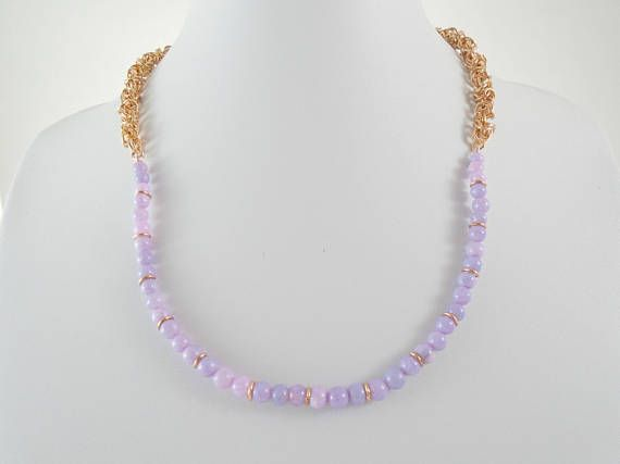Lavender Opal Necklace, Chainmail Necklace, Rose Gold Chain Necklace, Chainmaille jewelry, Opal Bead Necklace, Lavender Opal Jewelry