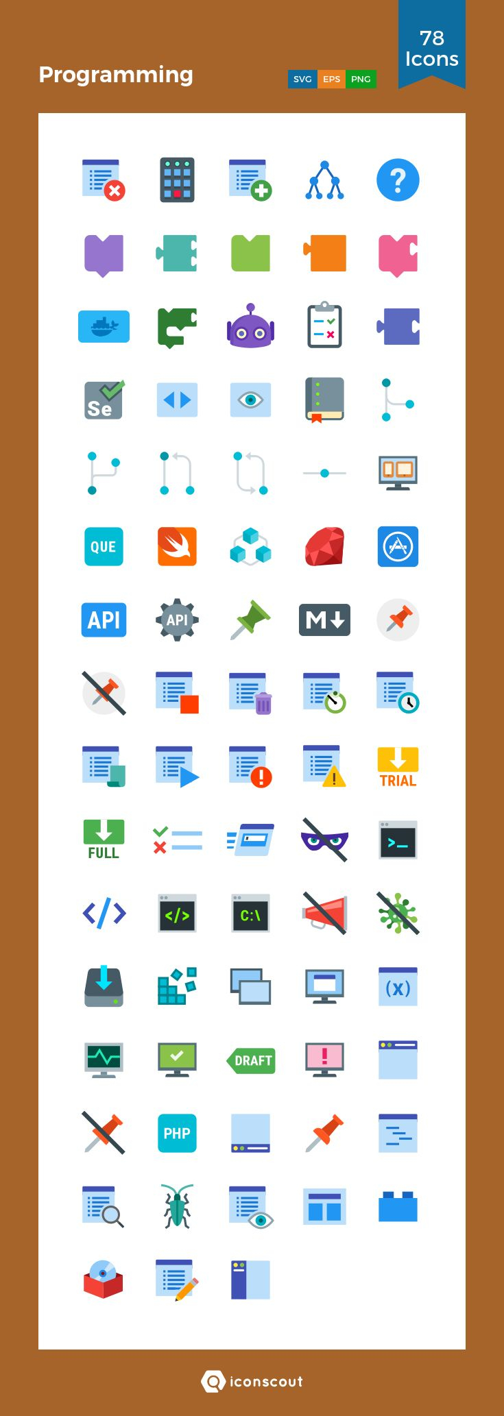 Programming  Icon Pack - 78 Flat Icons