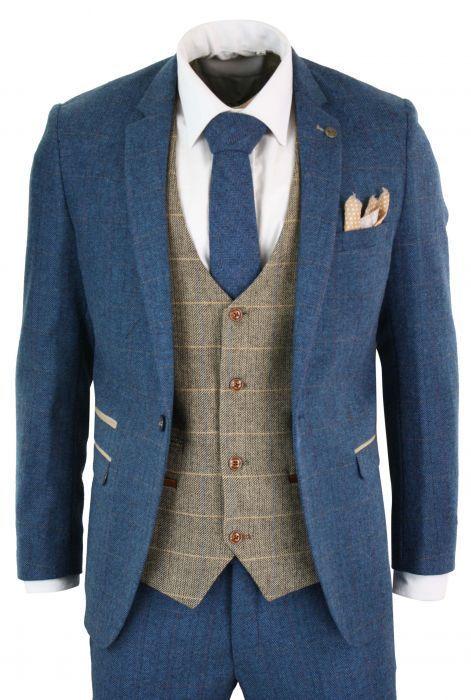 Marc Darcy Dion – Blauer Brauner Brauner Brauner 3-teiliger Tweed mit Fischgrät… – Herren mode & Men's Fashion