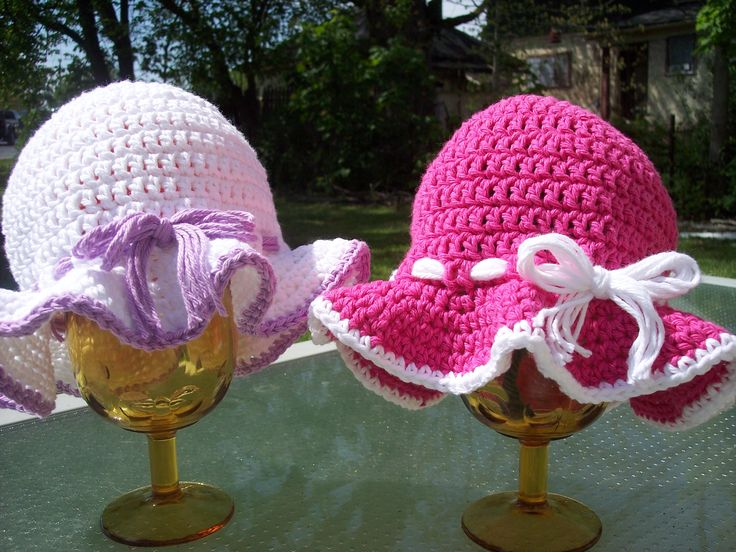 I am crocheting this sun hat up right now for Madeline and it is super easy!