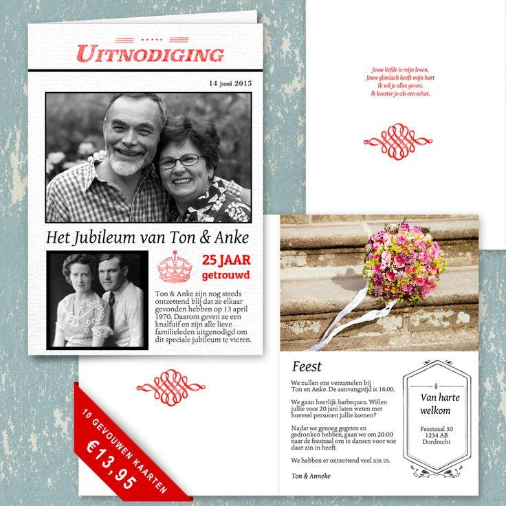 Leuk idee voor een jubileum. Een uitnodiging als een nieuwsbericht waarin je een oude foto plaatst. Je kunt ook een mooi gedicht aan de binnenkant plaatsen en diverse vintage versieringen gebruiken. Kijk voor meer ideeën op fotokaarten.nl