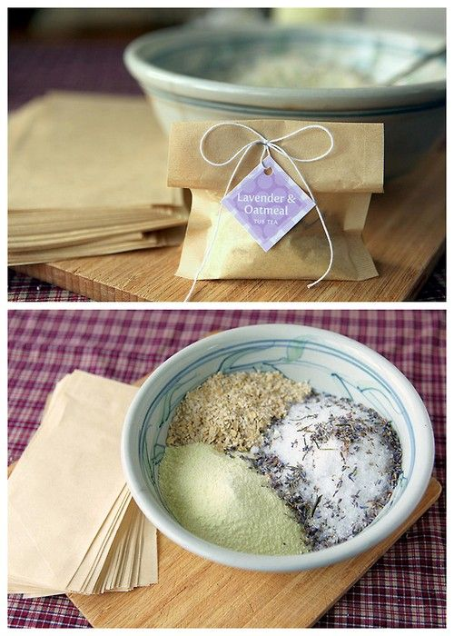 DIY Oatmeal Lavender Milk Tub Soak Recipe from My Own Ideas here. This recipe ingredients are Epsom salts, dried lavender, oatmeal, powdered milk and essential oil. There is also a link to really cheap large tea filters. This recipe would make a nice gift and you could include DIY sugar scrubs and spa treatments along with La Vie en Roses towel spa wrap here.