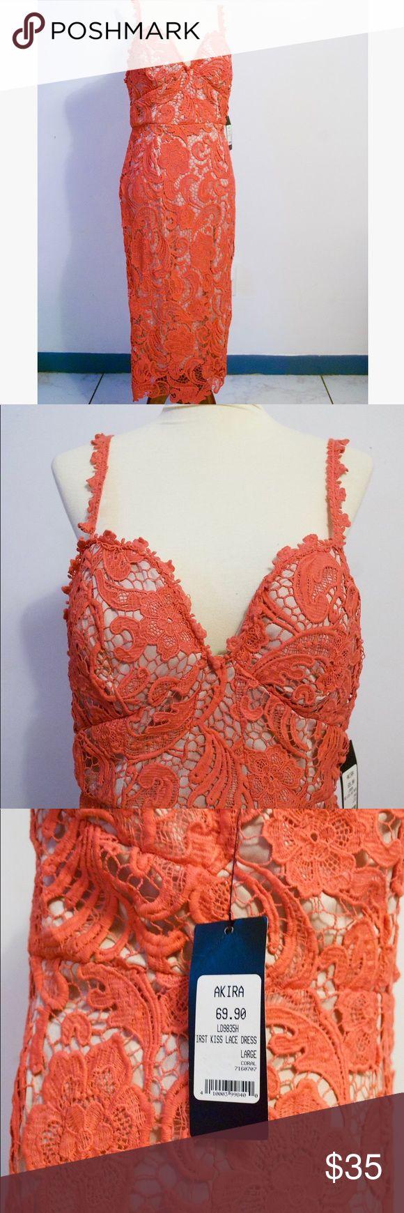 Akira Coral Lace Dress NWT! Beautiful Coral Lace Dress from Akira. Hits below the knee. Back zipper, back slit, straps, bra cups. Sweetheart neckline, 100% Polyester, Lace. AKIRA Dresses