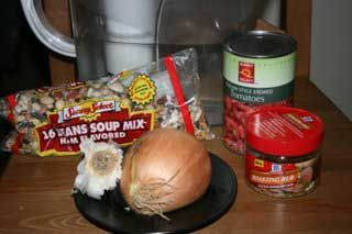 --1 bag of soup mix  --1 onion  --1 packet of onion soup mix  --water  --cook on low all day long