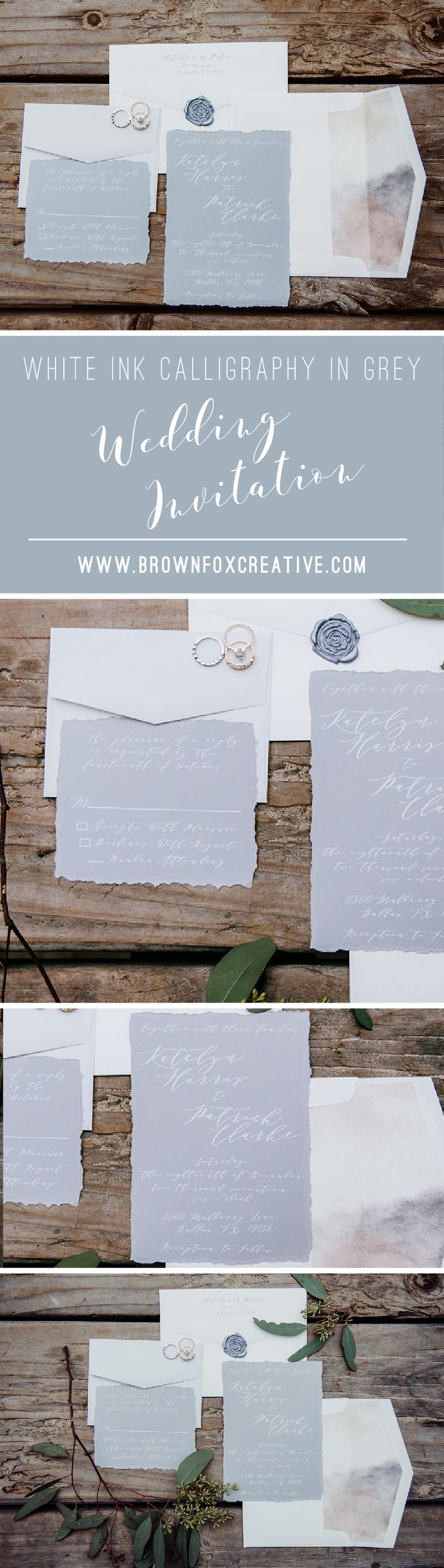 how to address wedding invites%0A White Ink Calligraphy Natural Modern Wedding Invitation in Grey and Ivory  u      Envelope Liner  RSVP
