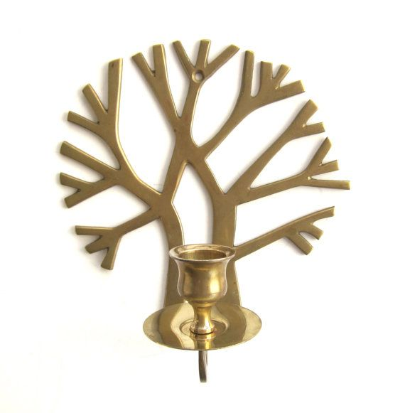 Mid Century Modern Candle Holder; Brass Vintage Wall Candelabra; Brass Tree Christmas gift