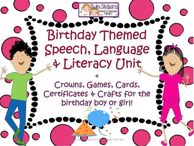 """Guess what? Today is my actual birthday! So what better way to celebrate it than to give away a HUGE 112 page log Birthday Themed Packet from Twin Sisters Speech and Language Therapy Blog.This fun themed unit could be used all year long.  Select Packet Contents:  Birthday present themed reinforcer page. Pin the Tail On The Donkey """"WH"""" Question Game. Birthday Party Memory Match Game & Vocabulary Cards. Birthday Party Game Board, Die & Markers. Birthday Party BINGO. Birthday 8 to 12 p..."""