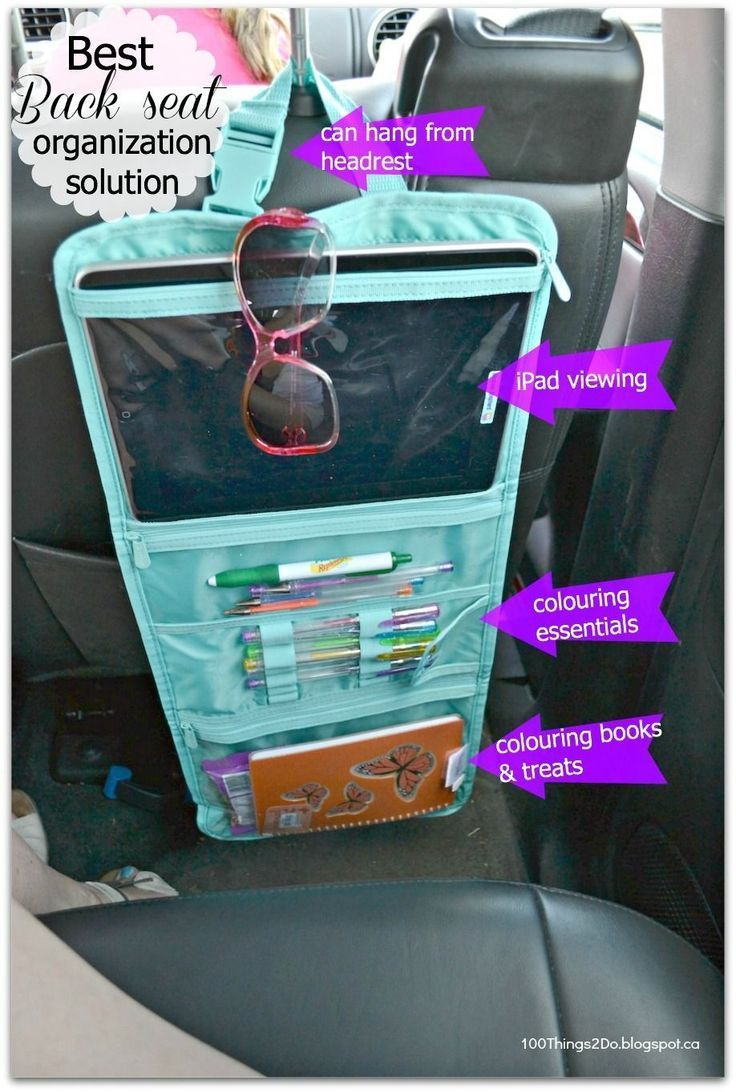 timeless beauty bag being used as a entertainment organizer for those long car rides