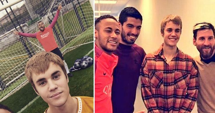 Justin Bieber scores during Barcelona training