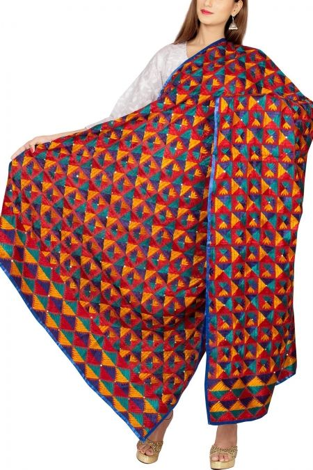 Red-Blue & Multi-colorerd Cotton Phulkari Bagh Dupatta