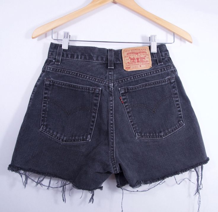 vintage LEVI'S 550 faded black high waisted denim cut off shorts Women's SZ 29 vintage denim cut offs LEVI'S shorts by SlowhandVTG on Etsy https://www.etsy.com/listing/468717954/vintage-levis-550-faded-black-high