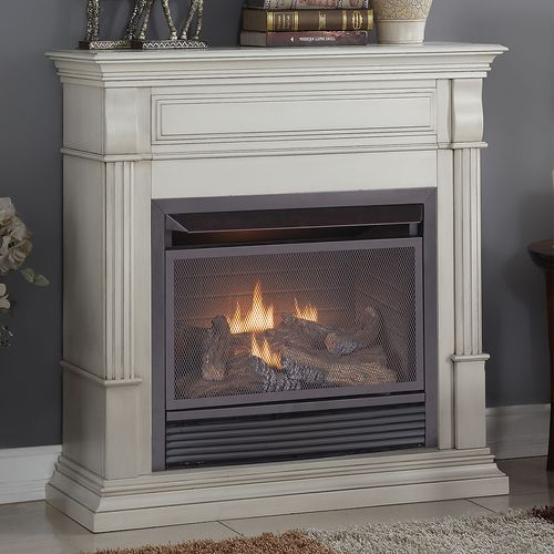duluth forge dual fuel ventless gas fireplace btu remote control antique white finish