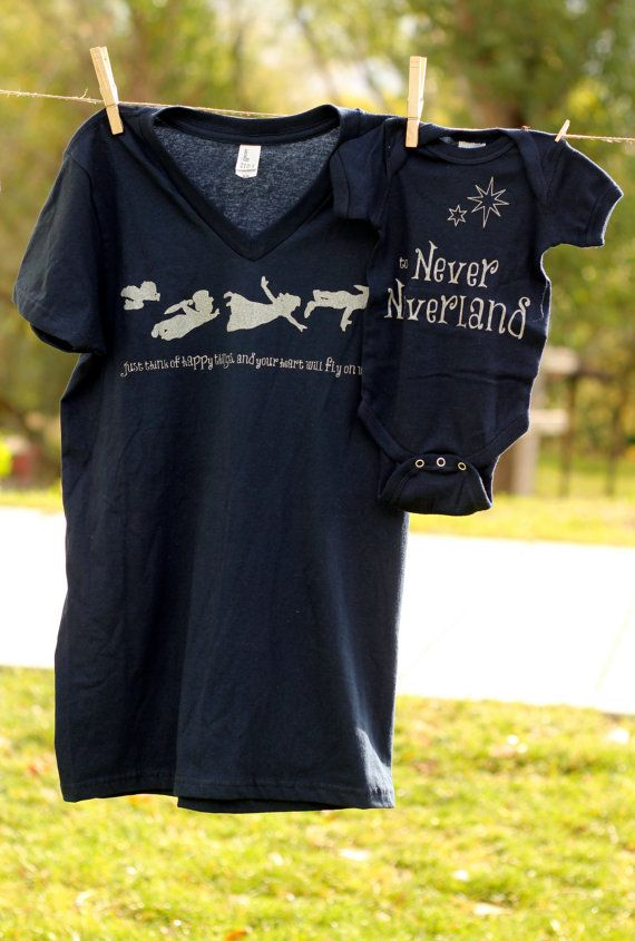 Mommy and Me Shirt Set Peter Pan by littletreetopsbaby on Etsy This is just the cutest thing ever!