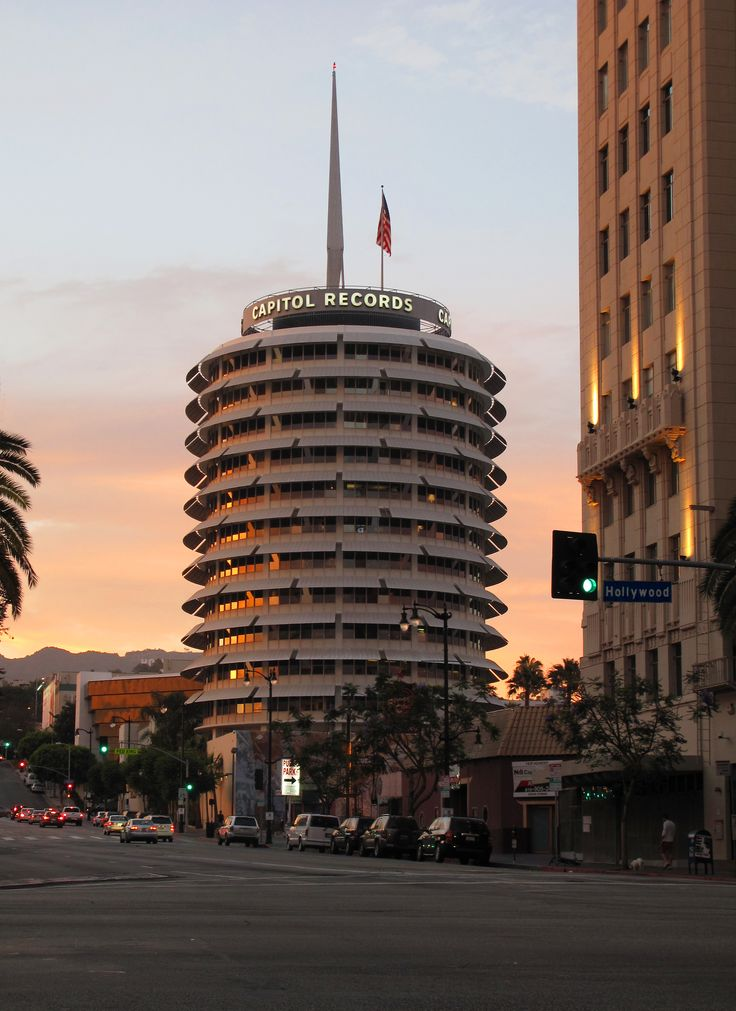 Capitol Records building in Hollywood;  iconic mid-century Los Angeles architecture