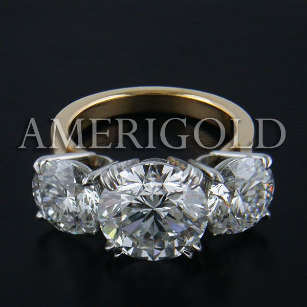 Enement Rings 3 Diamonds | 3 Stone Diamond Bands Three Stone Ring With 5ct Round Diamond By