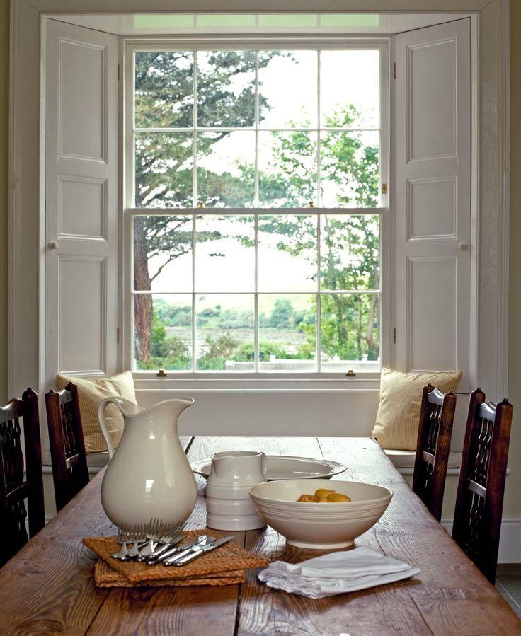 Tricia Foley - Irish Farm Table and wonderful built-in interior shutters<3