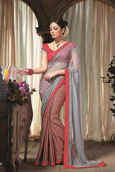 Appealing Printed Cotton,Chiffon Grey,Maroon Saree
