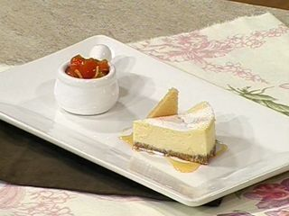 Cheesecake de ricotta y compota de cherries