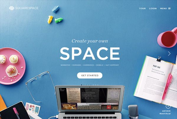 A website that with bold colors: Squarespace Stories