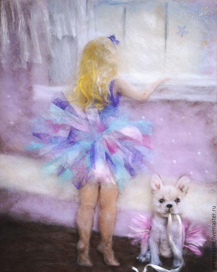 """Купить """"Балерины"""" - картина из шерсти, детская комната, балерина, Танцовщица, собака, нежность, окно, Снег"""