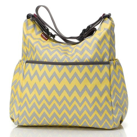 Changing Bags - Babymel Changing Bag - Big Slouchy - Yellow/Grey Zig Zag